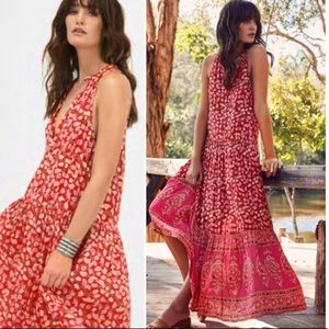 Dresses & Skirts - Border Print Maxi DRESS Red Delirium Gypsy Print